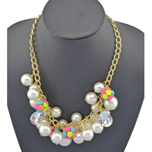 New European Style Gold Plated pearl resin ball Choker Necklace bracelet set S-0035