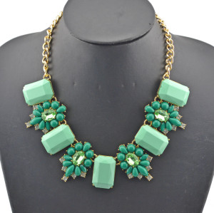 New fashion Style Gold Plated  resin gem rhinestone crystal flower Choker Necklace N-0154