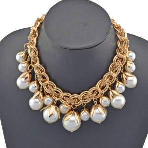 New fashion Style Gold Plated big faux pearl link snake chain fruit shape choker Necklace N-1570