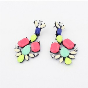 European style colorful resin gem rhinestone geometry stud earrings E-0679