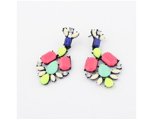 European style colorful resin gem rhinestone geometry stud earrings E-0679