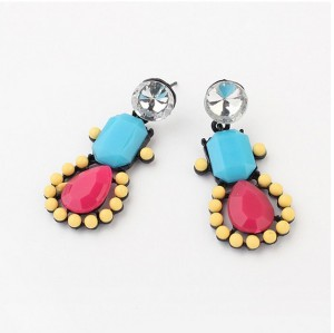 European style colorful resin gem rhinestone candy stud earrings E-0680