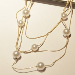 New Fashion Vintage Style Golden Multi Chain Cute Pearl Necklace N-1569