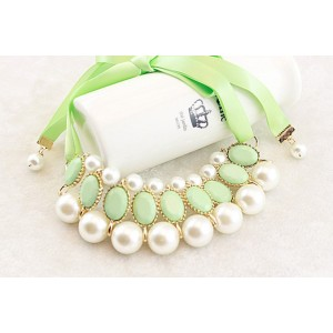 New Charming Korean Style Gold Plated Alloy Silk Ribbon Resin Gem Pearl Necklace N-1572