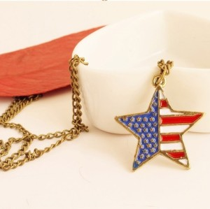 Fashion Bronze Metal Enamel Flag Symble Lovely Star Pendant Necklace N-0157