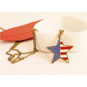 Fashion Bronze Metal Enamel Flag Symble Lovely Star Pendant Necklace N-0157