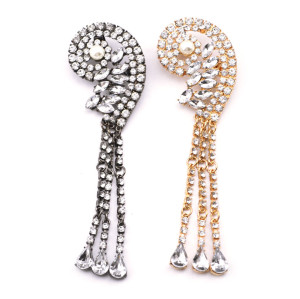 European Style full clear rhinestone crystal drop tassels pearl ear clip Ear Cuff For Left Ear E-2087