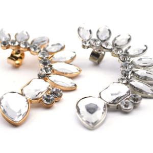 European Style full clear rhinestone crystal  leaves ear clip Ear Cuff For Left Ear  E-2088