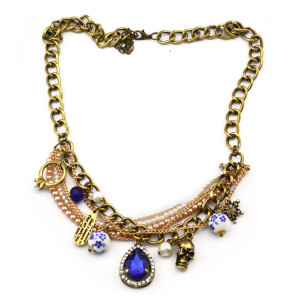 New vintage Style bronze metal chain pearl ring snowflake skull blue crystal drop Necklace S-0038
