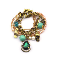New vintage Style bronze metal chain pearl ring letter beads snowflake skull green crystal drop Necklace bracelet set s-0037