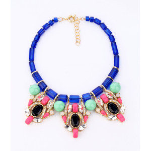 New European Style Gold Plated Alloy Blue Crystal Chain Green Resin Ball Clear Rhinestone Crystal Luxury Bib Necklace N-0582