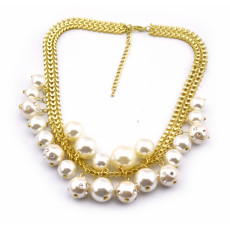 New  fashion gold plated snake chain rhinestone pearl ball tassels Choker Necklace adjustable N-1573