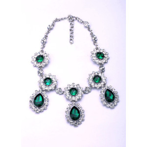 New  charming silver plated rhinestone green crystal drop flower Choker Necklace  wedding  Party jewelry N-0293