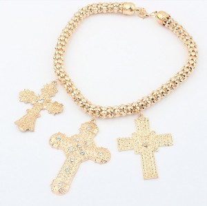 New  fashion gold plated snake chain rhinestone crosses pendant choker necklace N-0583