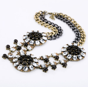 New Fashion Vintage European Style Bronze Alloy Multilayer Rhinestone Crystal Gem Choker Necklace N-0159