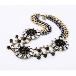 New Fashion Vintage European Style Bronze Alloy Multilayer Rhinestone Crystal Gem Choker Necklace N-0159