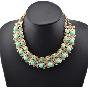 New Fashion Style gold plated metal moon rhinestone beads double chain necklace N-0296