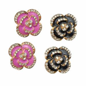 European Style black/pink enamel rhinestone flower ear studs E-0286