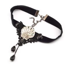 Gothic  black ribbon lace flower gem rhinestone shell shape drop tassels collar necklace N-1578
