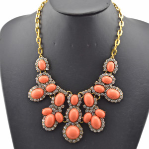 vintage style bronze alloy resin gem clear rhinestone flower choker necklace N-0298