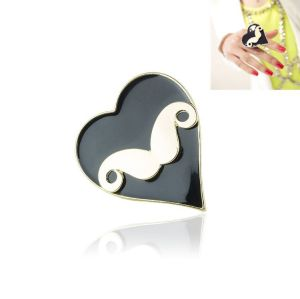 fashion Style gold  plated black enamel heart  mustache ring adjustable R-0823