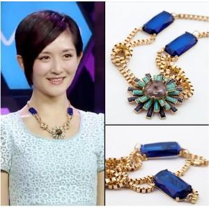 New Fashion European Style Gold Alloy Rhinestone Crystal Gem Flower Choker Necklace N-0230