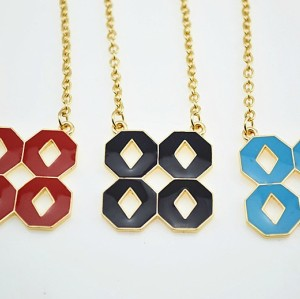 New European Style Gold Plated Alloy 3 Colors Enamel Lucky Number Eight Pendant Necklace N-4851