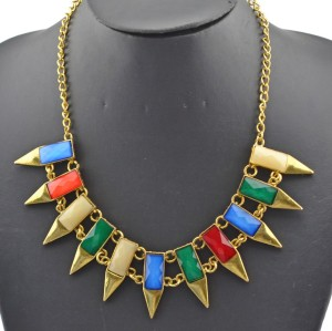 Fashion European Style Charming Vintage Gold Metal Resin Gem Pencil Choker Necklace N-4853