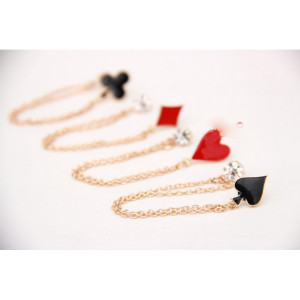 European Fashion Gold Plated Rhinestone Enamel Poker 4PCS Tassels Collar Brooch Pin P-0099