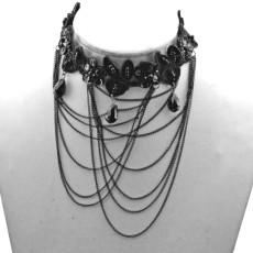 New Gothic  Black Ribbon Alloy Chian Tassel Lace Flower Gem Acylic Drop Collar Necklace N-1584