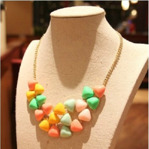 Fashion Korean Style Colorful Triangle Resin Acrylic  Gem Statement Necklace N-0300