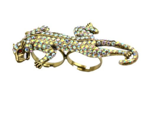 New Arrival European Vintage Style Bronze Alloy Colorful Rhinestone  Leopard Ring Size Adjustable R-0235