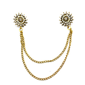 P-0063-B European vintage Gold metal Rhinestone faux pearl sunflower tassels Collar Brooch Pin