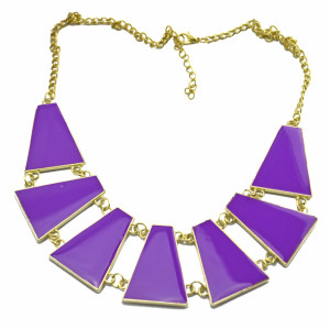 Fashion gold plated lots colors enamel geometry  choker Necklace N-4264