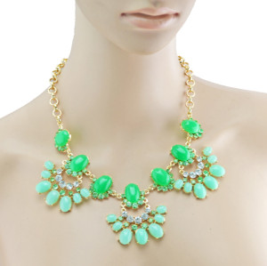 European  Gold Plated Alloy Resin Gem Rhinestone  Flower Drop Choker Statement Necklace N-3002
