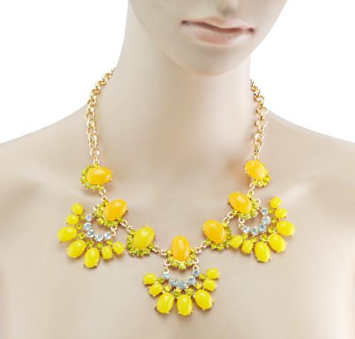 European  Gold Plated Alloy Resin Gem Rhinestone  Flower Drop Choker Statement Necklace N-3002