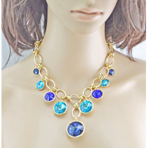 New Arrival Charming Korean Style Gold Plated Alloy Link Chian Shinning Round Crystal Choker Necklace N-0301