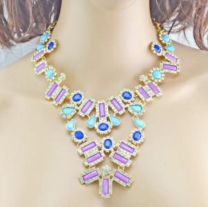 Fashion Charming European Resin Drop Oblong Rhinestone Gem Flower Choker Necklace N-0302