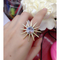 European Vintage Style Vintage Gold  Sunflower  Zircon Ring Size Adjustable