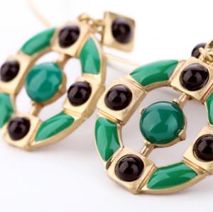 European vintage Style green enamel black beads  dangle ear studs E-1677