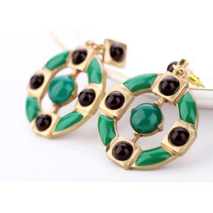 European vintage Style green enamel black beads  dangle ear studs E-1677