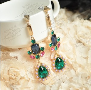 Fashion Korean Style Green/Blue Gem Rivet Drop Rhinestone Faux Pearl  Ear Studs E-0287