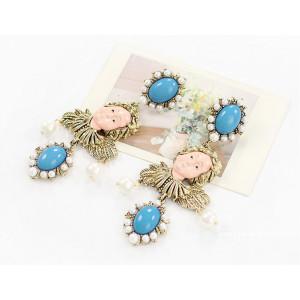Fashion vintage Style Green/rose Gem pearl flower leaf girl Ear Studs E-1178