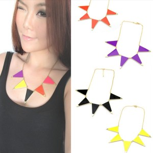 New Korean Style Gold Plated Alloy Enamel Geometry Triangle Choker Necklace N-4855