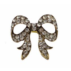Vintage Style bronze metal clear rhinestone big bowknot Ring Size Adjustable