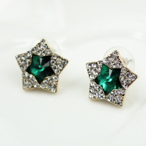 Fashion Korean Full Rhinestone Golden Green Gem Star Ear Stud Earrings E-1685