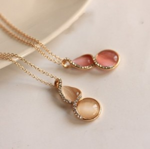 New Korean Style Gold Plated Alloy Rhinestone Opal Lucky Calabash Pendant Necklace
