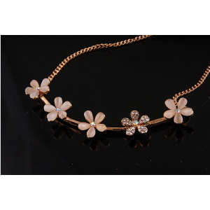 New Korean Style Fashion Charming Golden Metal Rhinestone Lovely Small Flowers Choker Necklace Bracelet Set S-0068