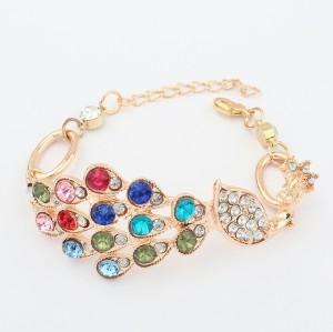 European Charming Colorful Rhinestone Peacock Bracelet  B-0290