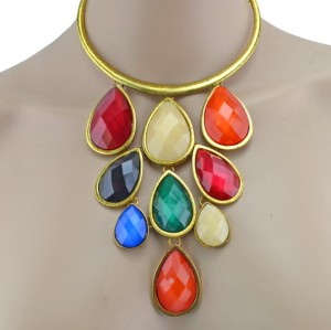 New European Style Vintage Gold Plated Alloy Acrylic Drop Pendant Collar Necklace N-0800
